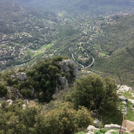 Looking town to Pont sur Loup from Gourdon