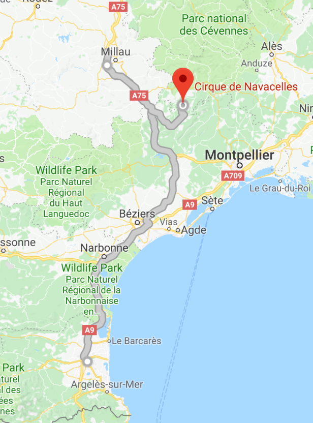 from Perpignan to Cirque de Navacelles via Millau