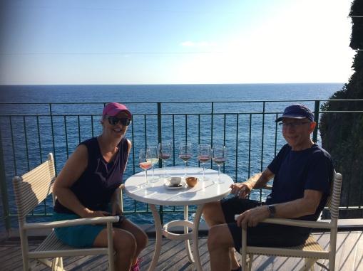 enjoying the wine and the sun