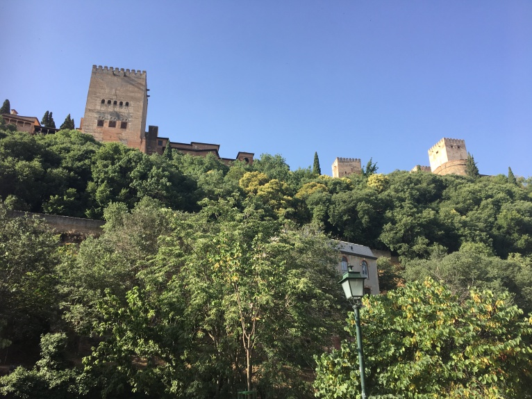 Looking up at the Alhambra
