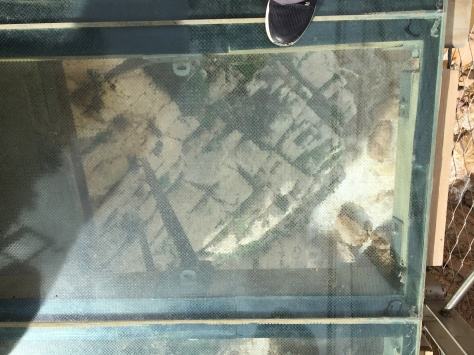 Looking down through glass panel