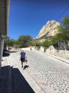 Pena de Bernal, the climb in the town got us puffed...