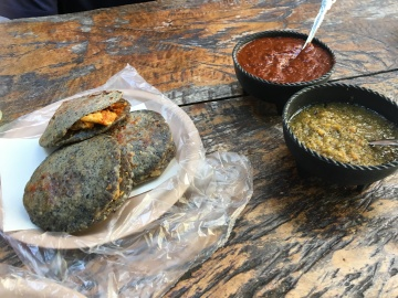 Blue taco Gorditas and salsas