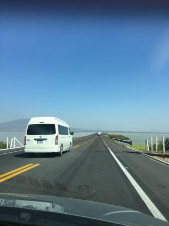 Driving the causeway near Morelia